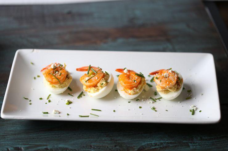 Buffalo Shrimp Deviled Eggs - Lemons for Lulu