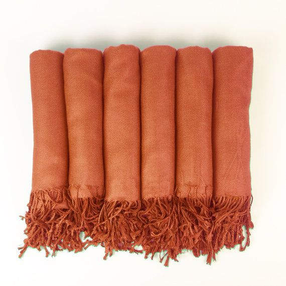 Luxurious Pashmina Shawl Burnt Orange Perfect For Bridesmaid Gifts Wedding Favors Or Bridal Shower