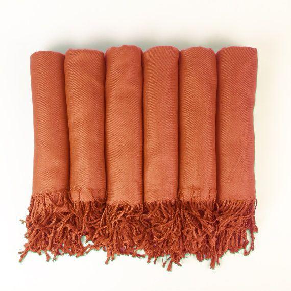Luxurious Pashmina Shawl Burnt Orange Perfect For Bridesmaid Gifts Wedding Favors Or Bridal Shower