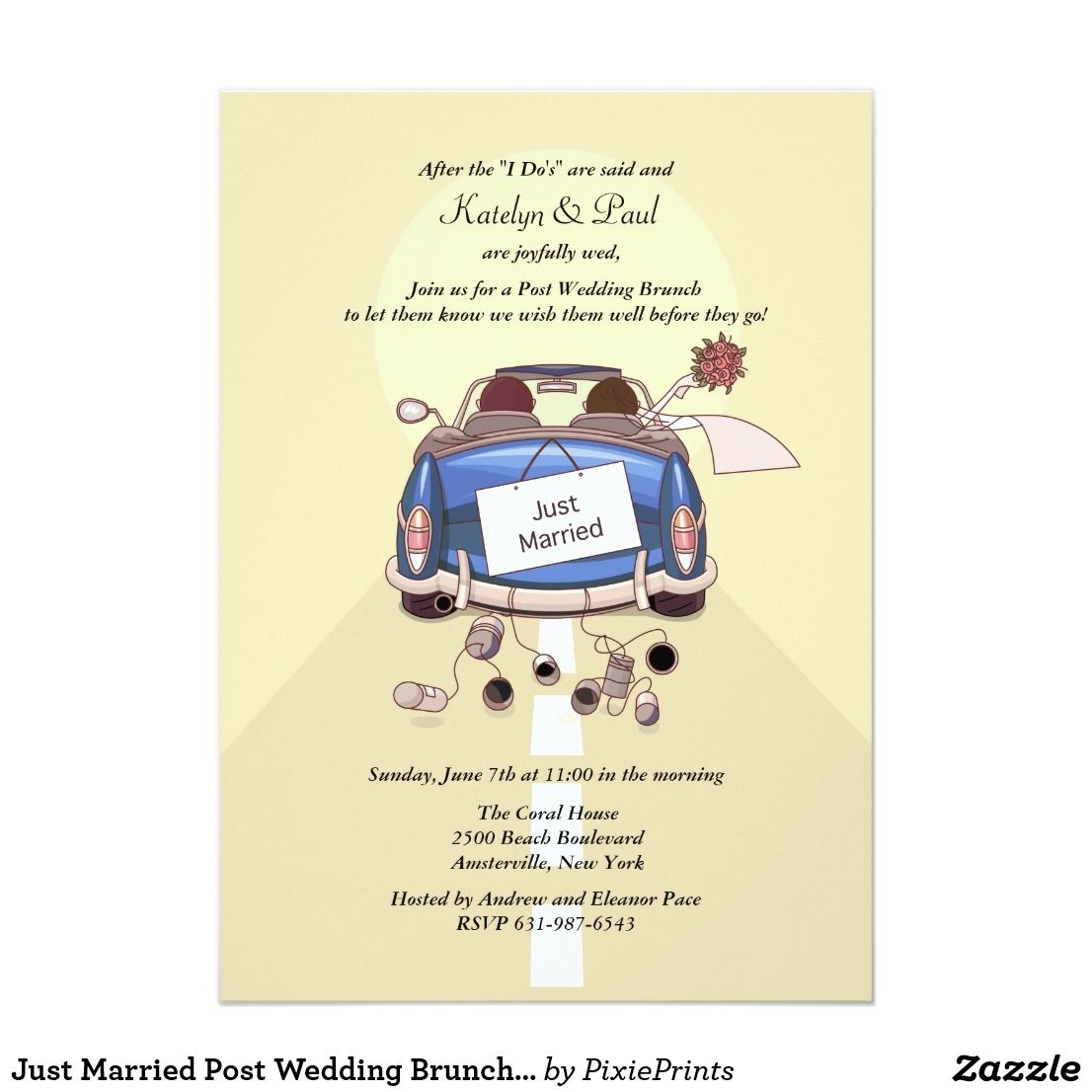 Just Married Post Wedding Brunch Invitation Yell Brunch