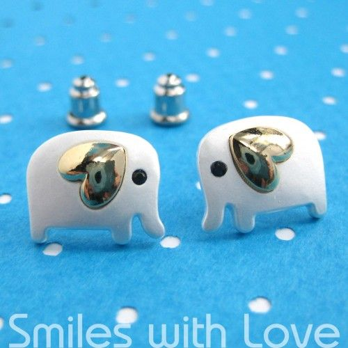 Small Elephant Earrings in Silver with Gold Heart Detail- ALLERGY FREE #heartdetail