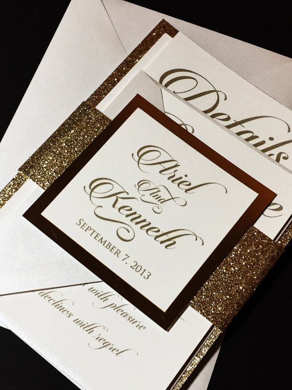 this listing is for a sample of a layered wedding invitation with a glitter cardstock backing enclosed with a glitter belly band and a foil tag emb - Layered Wedding Invitations