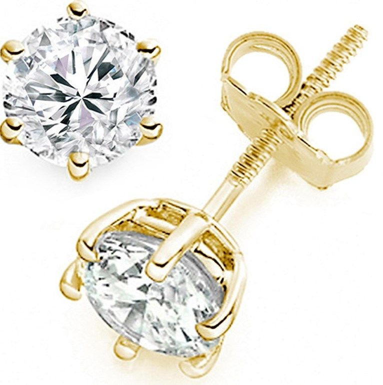 gift champagne diamond earring white stud s christmas gold men single p mens
