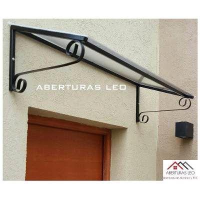 Alero policarbonato recto 80cm techo para puertas ventanas for Tejados de herreria