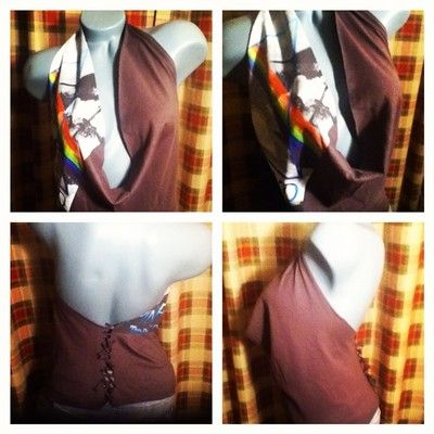 OOAK DiY reconstructed Pink Floyd Sexy Halter Slashed Shirt