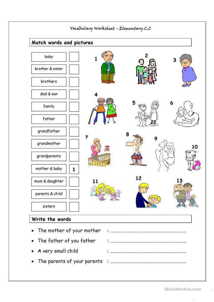 Vocabulary Matching Worksheet - Elementary 2.2 (Family) | words ...