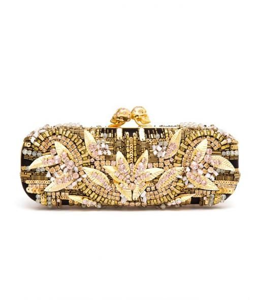 Embroidered Swarovski Crystal Box Clutch