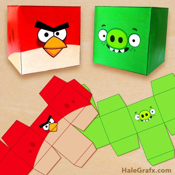 Click here to download free printable angry birds treat boxes