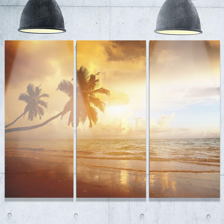 Designart - Beautiful Palms at the Caribbean Beach - Extra Seascape ...