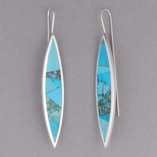 Double Point Dangle Earrings with Turquoise Mix