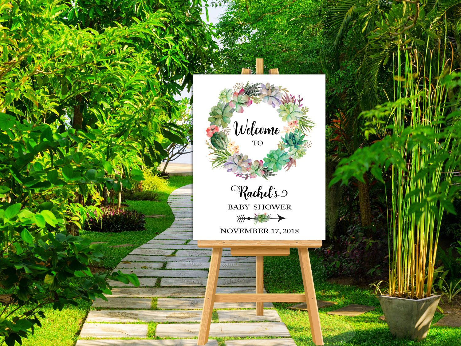 Succulents Baby Shower Welcome Sign, Personalized Large Baby Shower ...