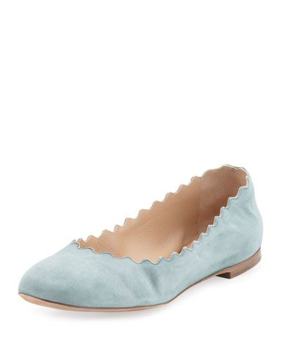 8096bed5924b Designer Shoes for Women on Sale at Neiman Marcus. CHLOÉ Scalloped Suede  Ballerina Flat, Blue Lake. #chloé #shoes #flats