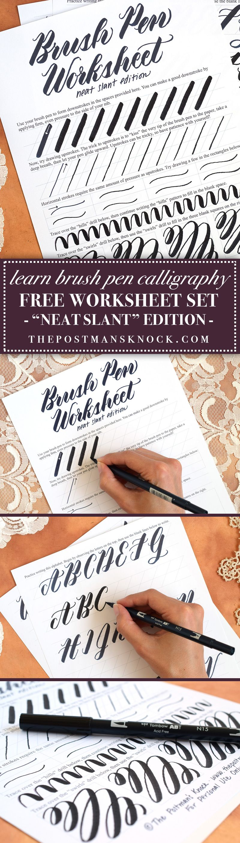 Free Brush Pen Calligraphy Worksheet Neat Slant Edition The Postman S Knock Hand Lettering For Beginners Brush Pen Calligraphy Calligraphy Worksheet [ 2803 x 800 Pixel ]