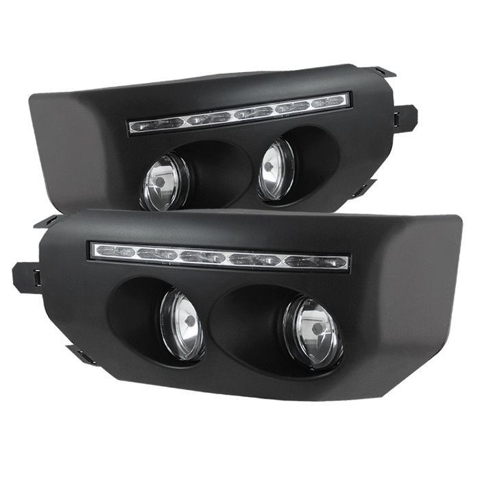 ( Spyder ) Toyota FJ Cruiser 07-14 Fog Lights With LED Daytime Running Lights W/Switch - Black