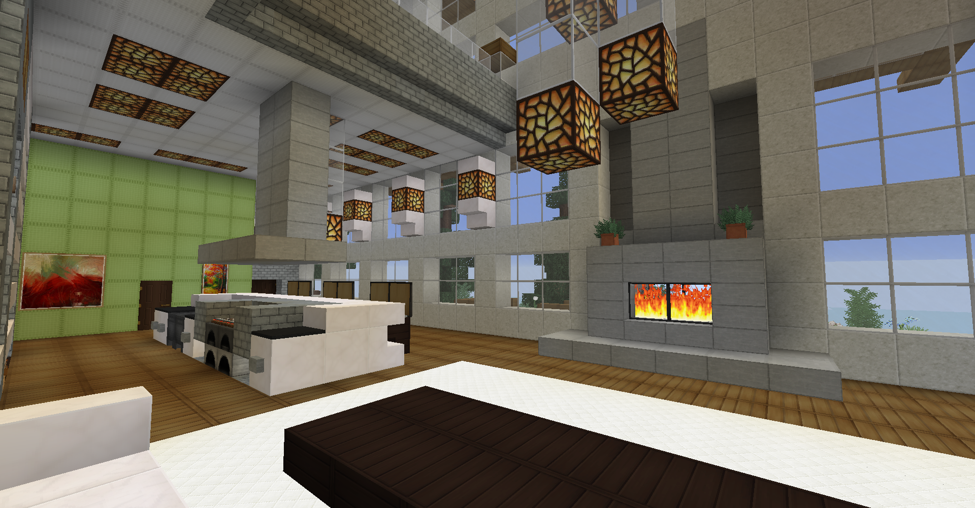 Minecraft survival modern house interior living room kitchen two way fireplace large windows