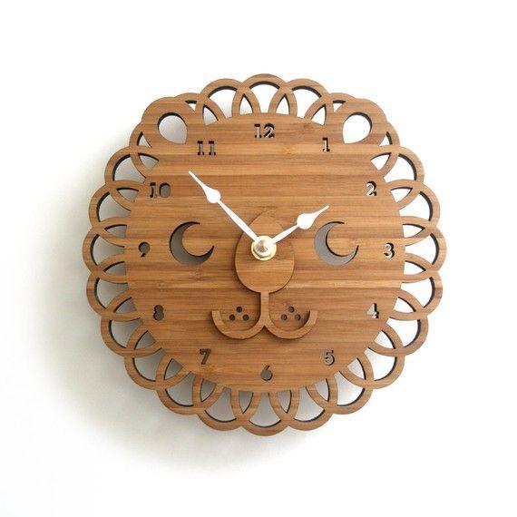 Modern Lion Bamboo Wall Clock Wooden Clock Kids Room Decor Etsy Animal Clock Wall Clock Wooden Wooden Clock