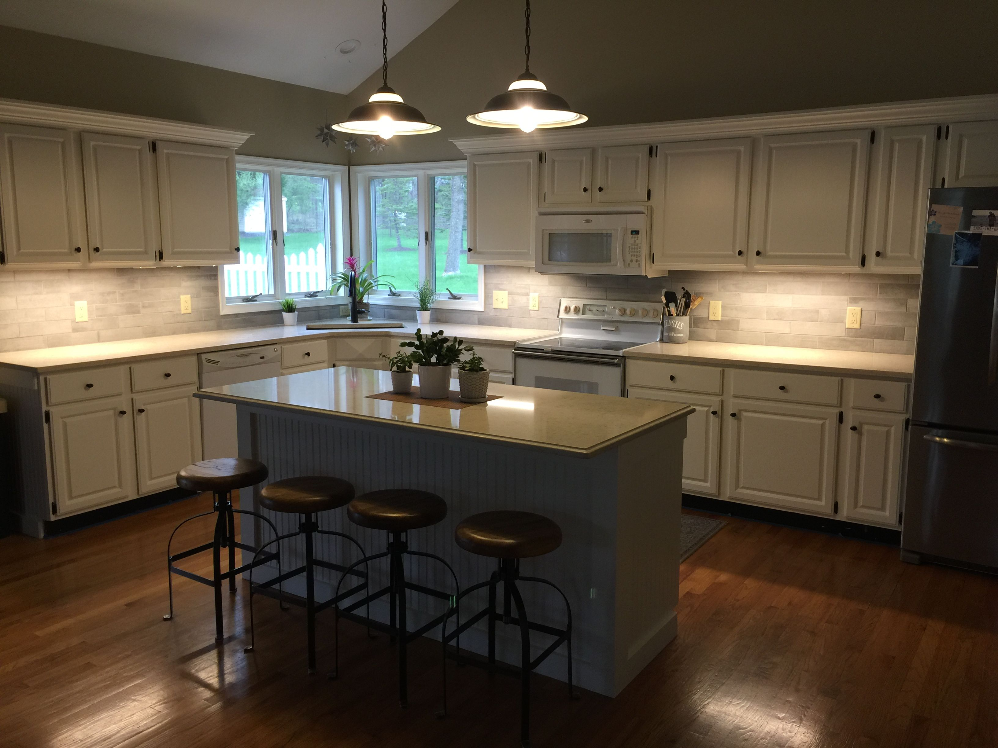 AFTER kitchen-DIY painted kitchen cabinets, spray painted ...