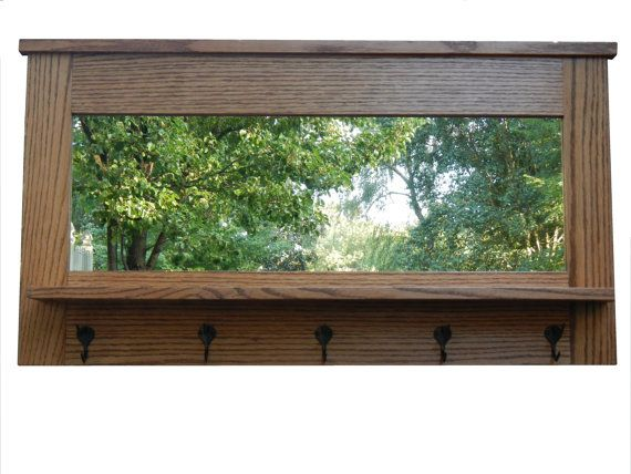Entry Organizer Wall Mirror Made With White Oak And 5