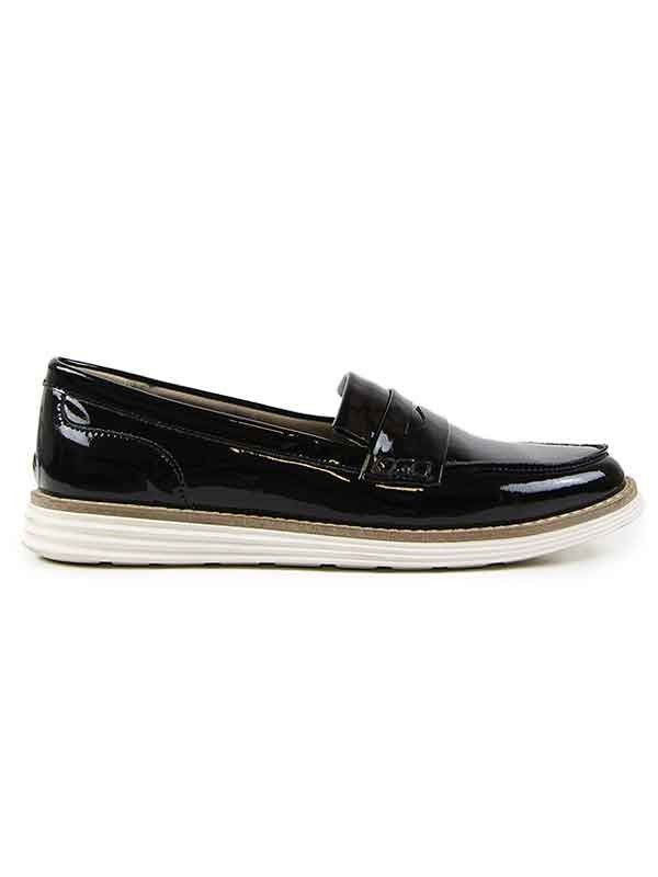 5142636148f Vegan womens patent black loafers with white soles by Wills London ...