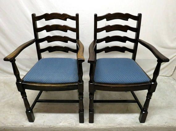 Antique Pair 2 Golden Oak Dining Room Arm Chairs Ladder Wing Backs High Back Kitchen Gentlemans