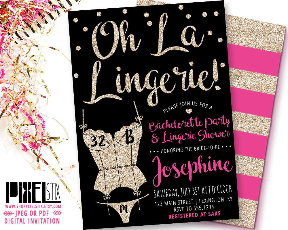 Gold glitter lingerie shower invitation oh la lingerie bachelorette party invite sexy corset for Lingerie invitations