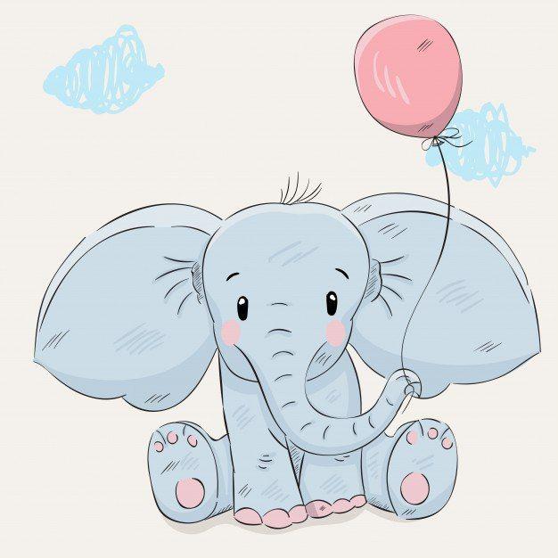 Днем рождения, слон на открытке
