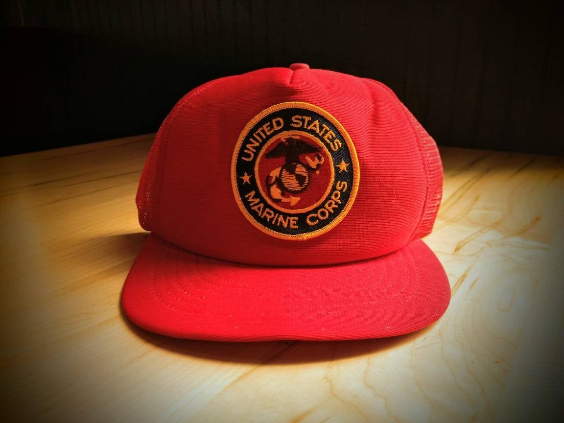 United States Marine Corps Vintage Trucker Hat Red Patch Usmc By Alltheragevintageca On Etsy Vintage Trucker Hats Trucker Hat Vintage Purple Dress