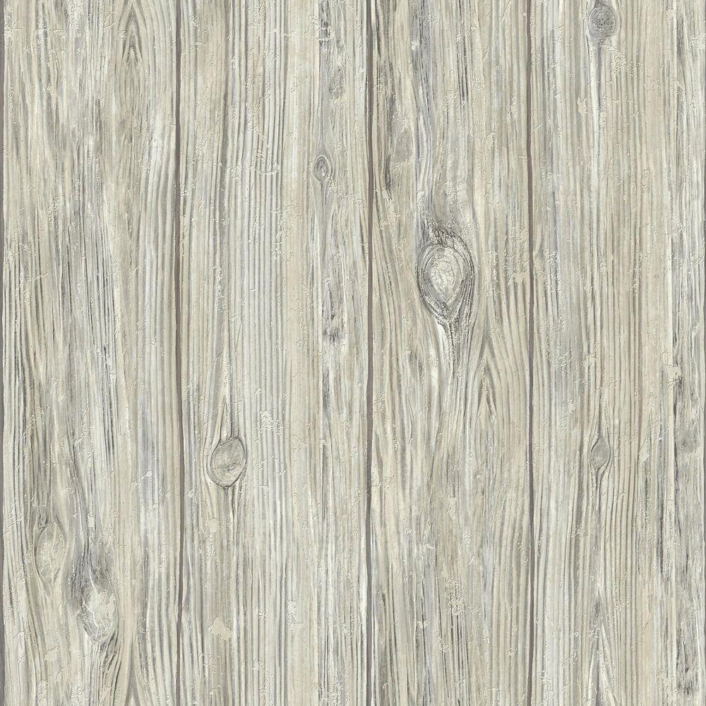 Roommates Grey Mushroom Wood Peel Stick Wallpaper The Home Depot Canada Peel And Stick Wallpaper Wood Feature Wall Grey Wood