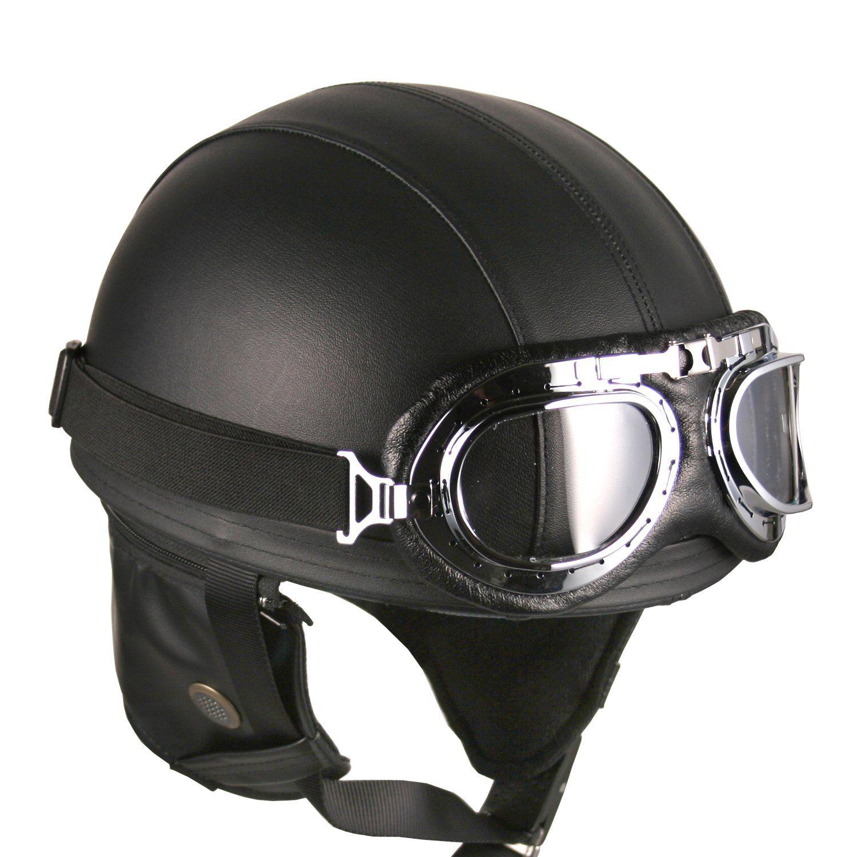 Leather Black Goggles Vintage German Style Half Helmet Motorcycle Biker Cruiser S Leather Motorcycle Helmet German Motorcycle Helmet Motorcycle Helmets Vintage