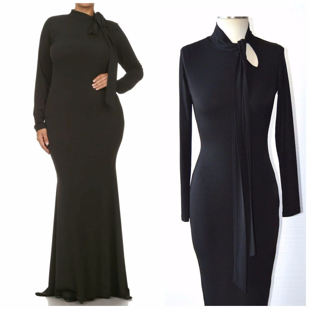 df4ba26fcdef SOLID BLACK LONG SLEEVE TURTLENECK MAXI DRESS with NECK TIE 1X by Sexy Diva  USA #WeekendinVegas #Maxi