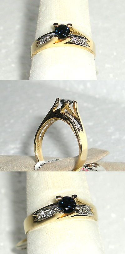 Rings 165044: Solid 14K Gold Sapphire Diamond Fashion Ring Size 5.5 -> BUY IT NOW ONLY: $190 on eBay!