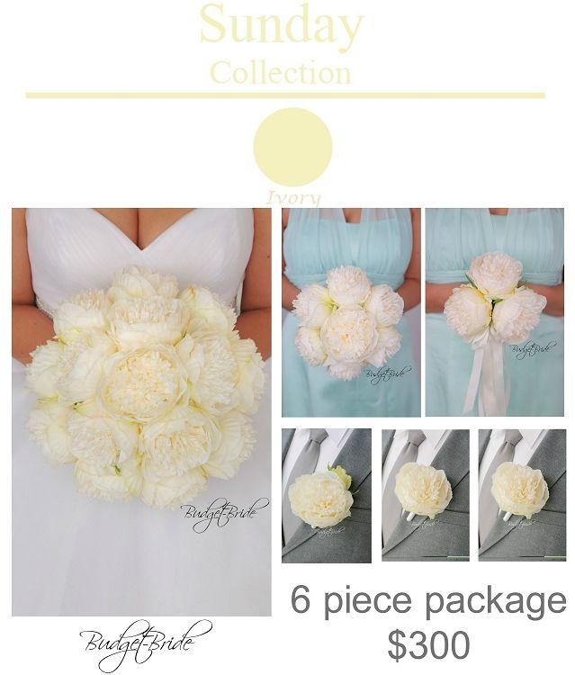Davids Bridal Ivory Wedding Bouquet Peony Flowers Modern