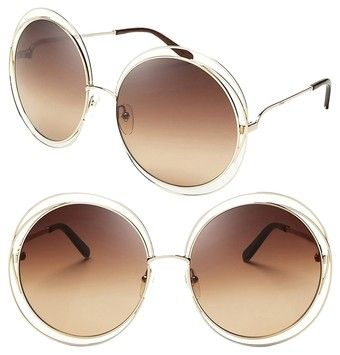Chloé CHLOE Carlina Round Wire-Frame Sunglasses Rose Gold/Transparent Beige Shaded
