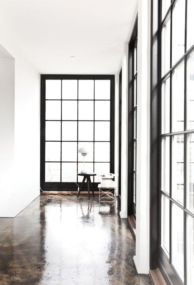 polished concrete floors black window frames - Window Frames