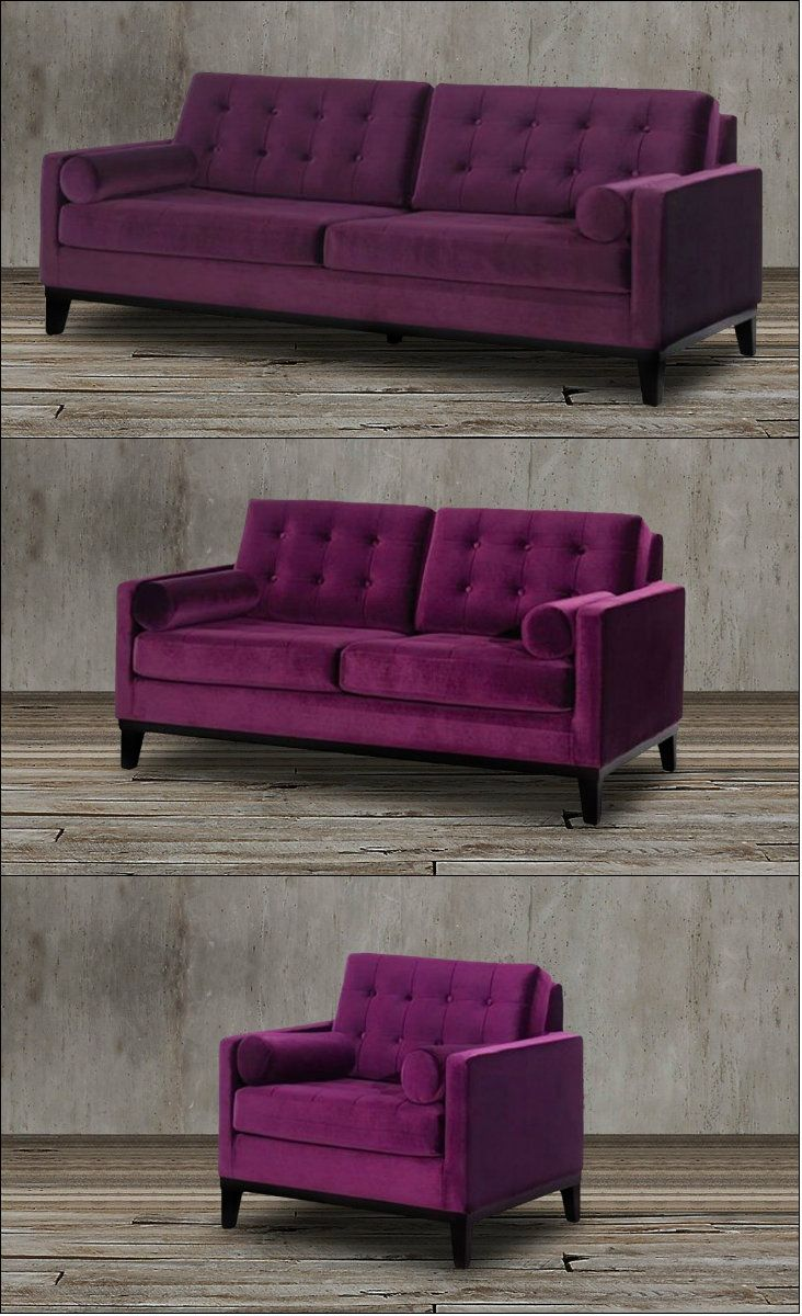 This stunning velvet sofa set in rich eggplant purple is the ...