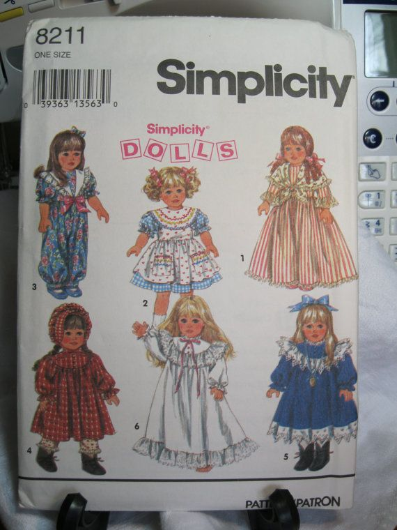 Simplicity+18+Inch+Doll+Patterns | 18 inch doll clothes pattern, Simplicity Dolls 8211, from 1994, uncut ...