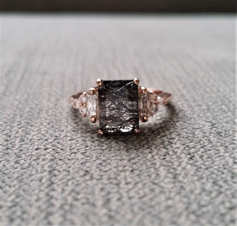 Antique Rutile Quartz Moissanite And Diamond Engagement Ring Emerald Cut  Baguette Classic Rose Gold Timeless Penellibelle Rustic