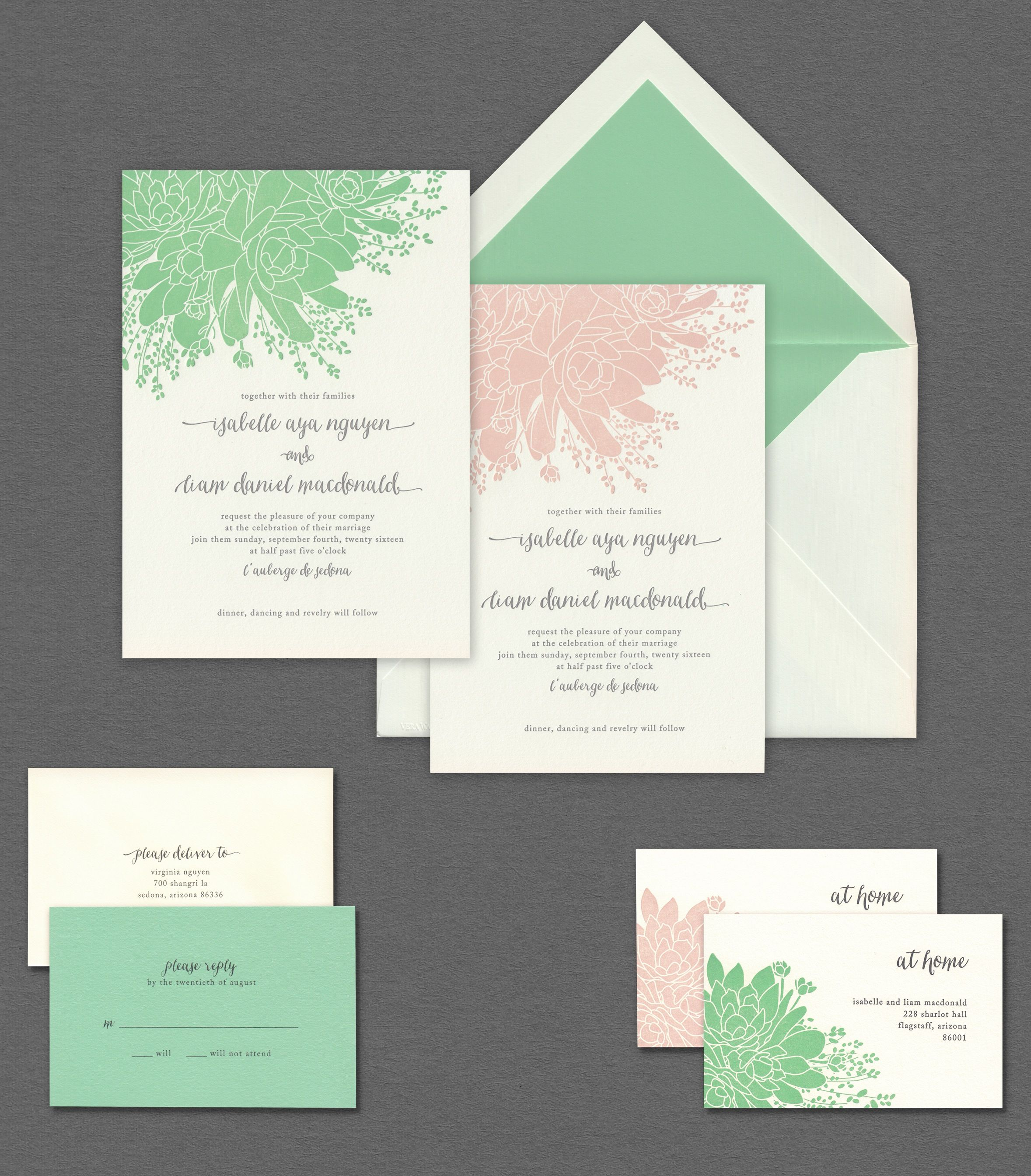 Vera Wang Mint And Blush Succulent Wedding Invitation Suite