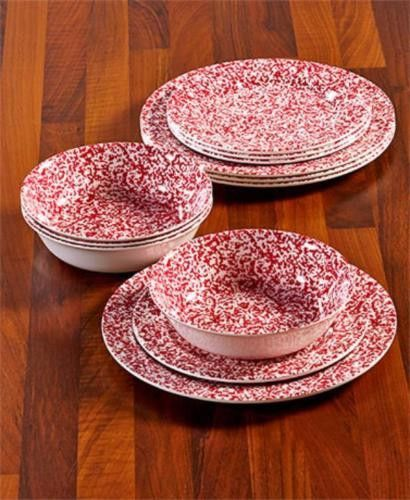 Dinnerware Set 12 Pc Rustic Country Primitive Melamine Speckled