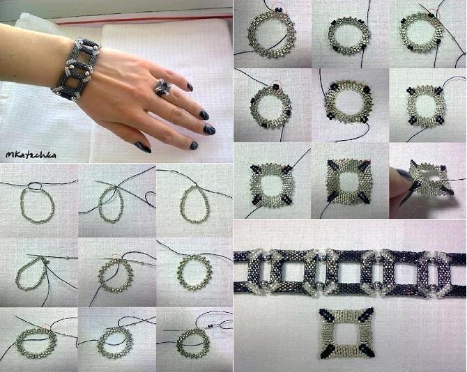 Diy square shaped beaded bracelet joyera hazlo t mismo diy square shaped beaded bracelet solutioingenieria Choice Image