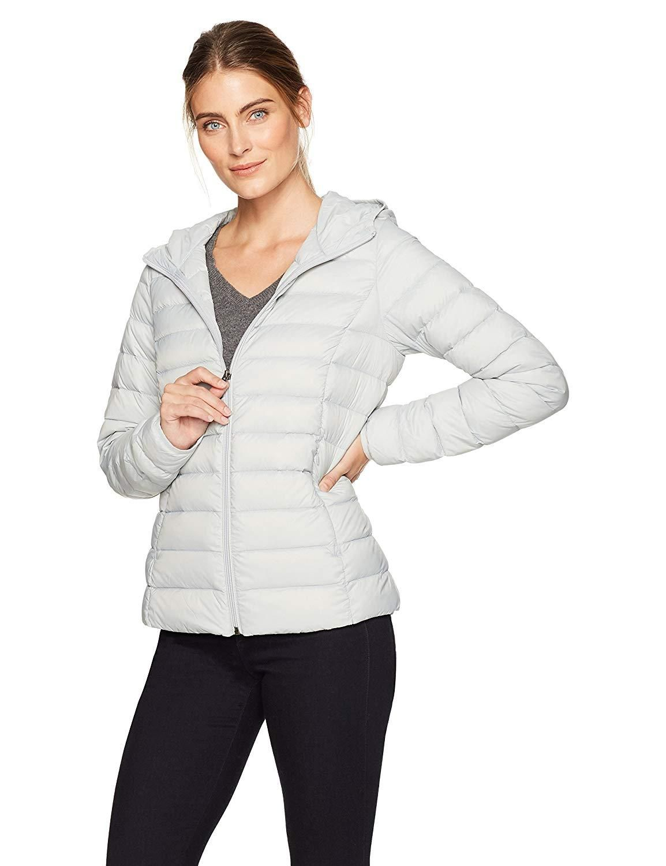 Essentials Womens Lightweight Water-Resistant Packable Hooded Puffer Jacket