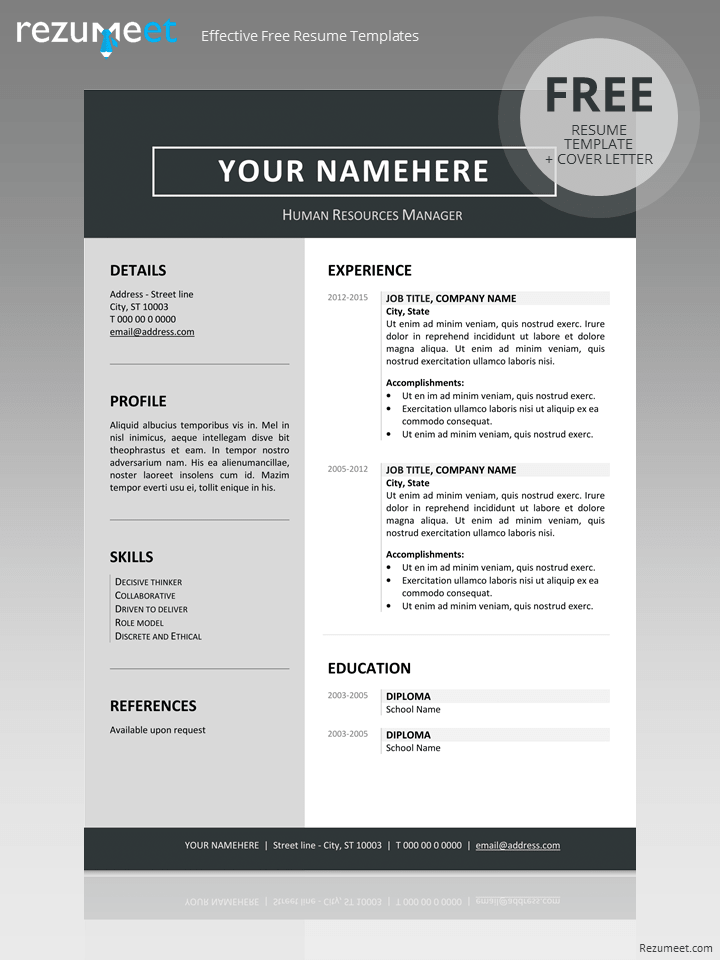 Free Clean Resume Template If You Like This Cv Template Check Others On My Cv Template Board Clean Resume Template Resume Template Word Resume Template Free