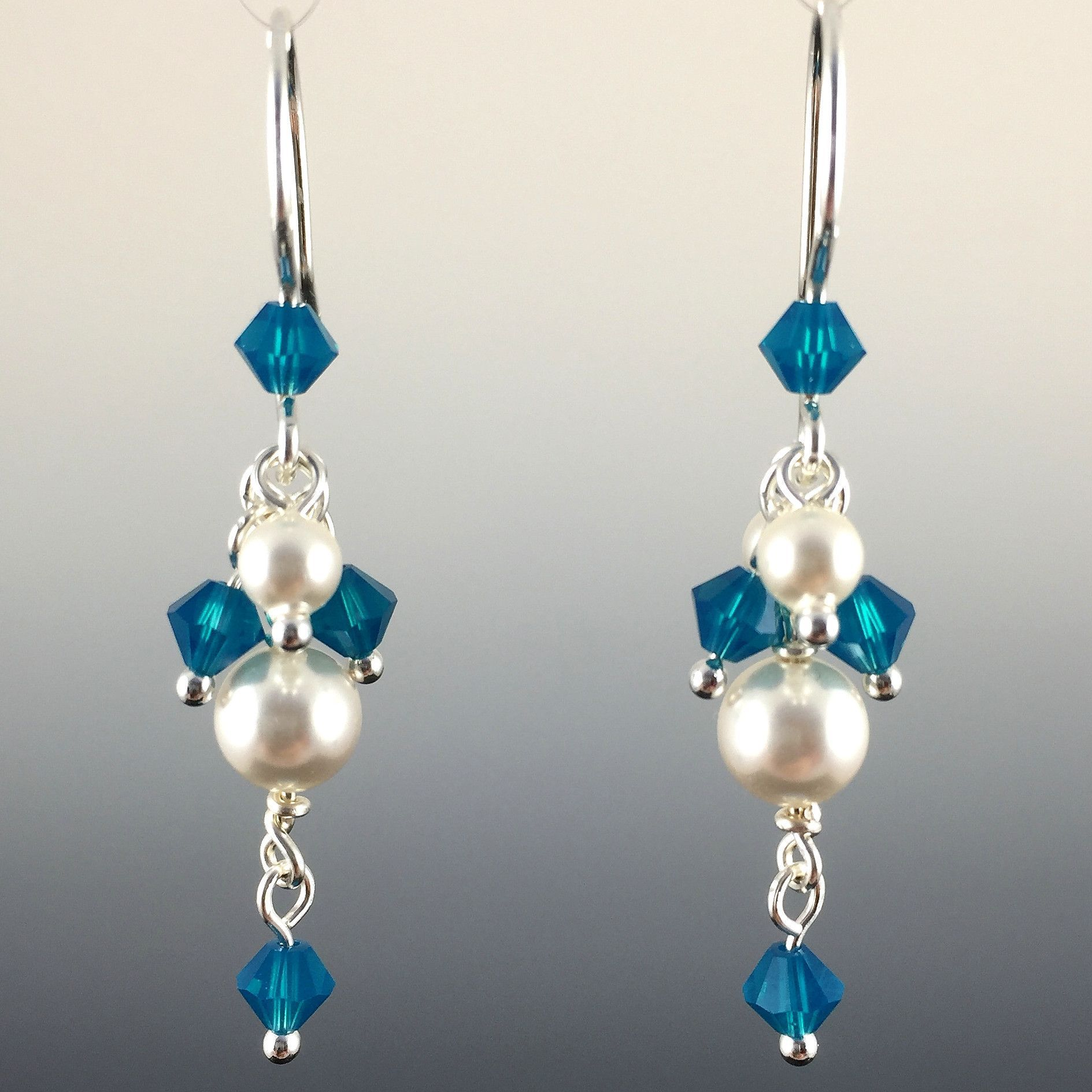 swarovski crystal & sterling silver short cluster earrings with