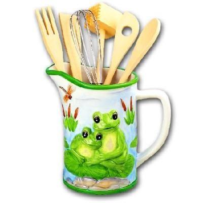 Green Frog Kitchen Utensil Tool Holder