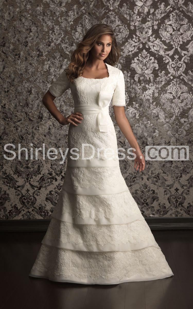 Sophisticated shortsleeved square neckline layered lace wedding