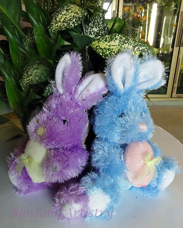 Plush bunnies to sit at the base of a hydrangea plant.