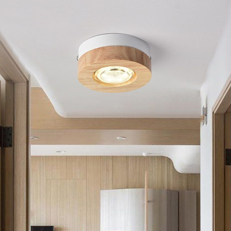 Goedkope Moderne Led Plafond Verlichting Houten Plafondlamp Voor Gang Vierkante Ronde Hout Keuken Lichten Kleine Opbou Plafondlamp Keuken Lichten Houten Keuken