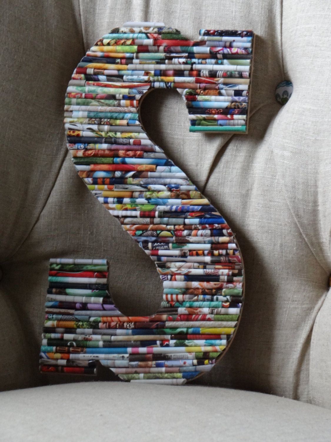 13 In Upcycled Wood Wall Letter Rolled Paper Art By