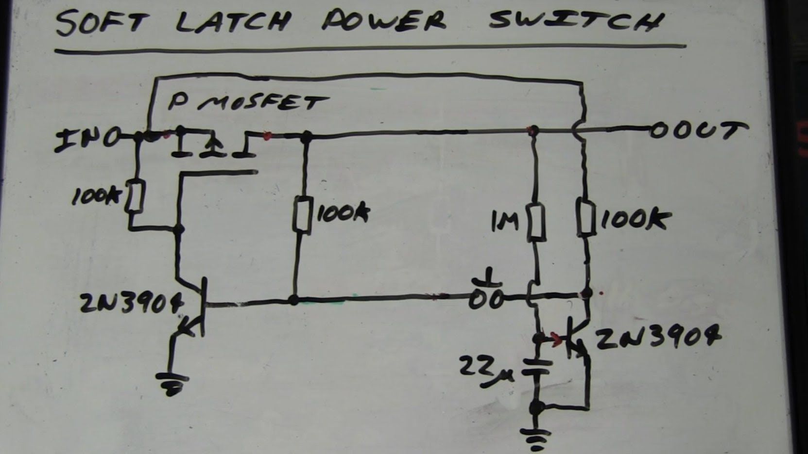 eevblog 262 world s simplest soft latching power switch circuit [ 1663 x 936 Pixel ]