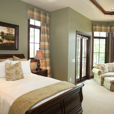 Dark Wood Trim Design Ideas Pictures Remodel And Decor Green Master Bedroom Green Bedroom Walls Sage Green Bedroom